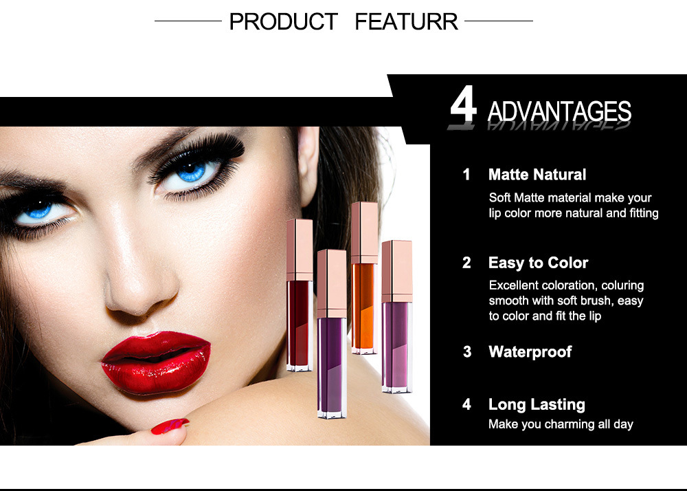 OEM Private Label Matte Long Lasting Lip Gloss 30 Colors Long Lasting Lipstick Waterproof Lips Makeup Easy To Wear Cosmetic