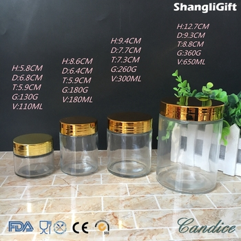100ml 200ml 300ml 650ml straight side glass food jar with shinny plating plastic cap