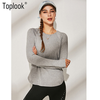 Toplook Long Sleeved Slim Yoga Shirts Women Running Quick Drying Breathable Training Workout Clothes Gym Crop Top B102