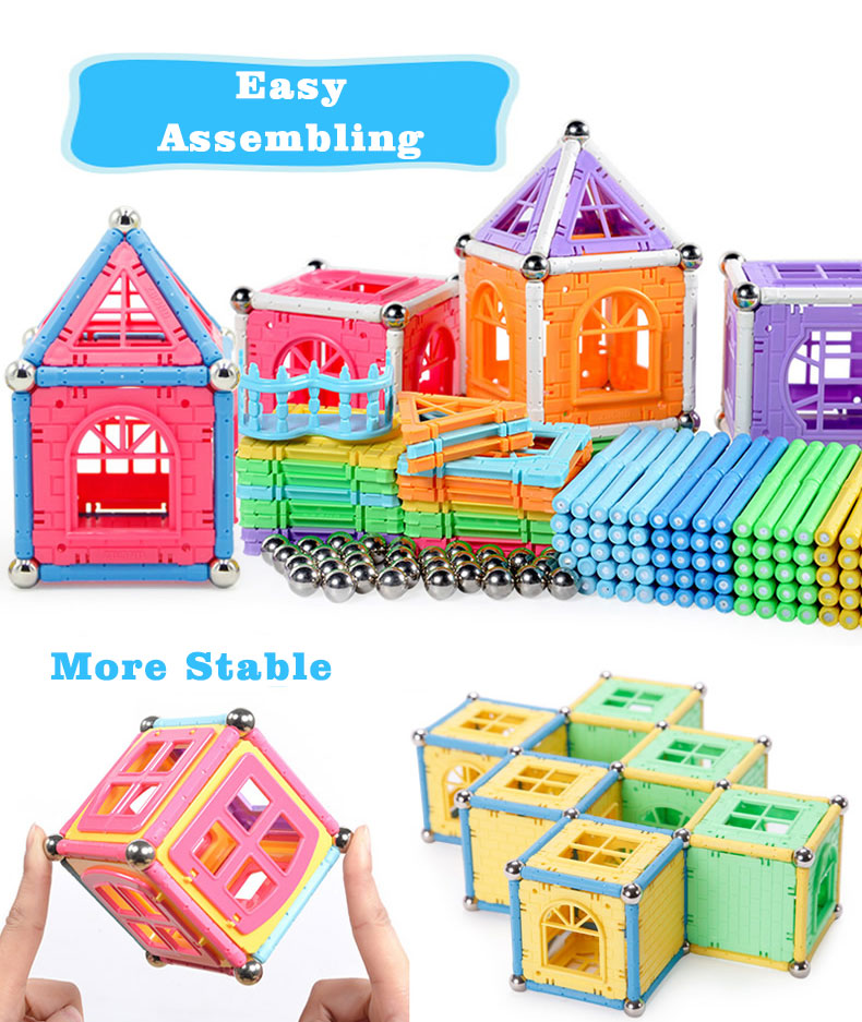 Lower Price Educational Toys Distributors Preschool Magnetic Ball Rod Build Construction Children Gift Set