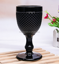 Antique Custom Wholesale Color Thick Stem Embossed Black Wine Glass
