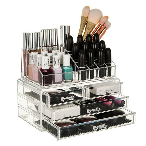 Organiseur Cosmétique Boîte de maquillage avec tiroirs Coffre à cosmétiques Boîte de rangement pour bijoux Porte-savon à ongles Boîtier de rangement pour bijoux