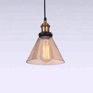 Retro copper glass indoor hanging lamp hanging light smoke gray triangle pendant light