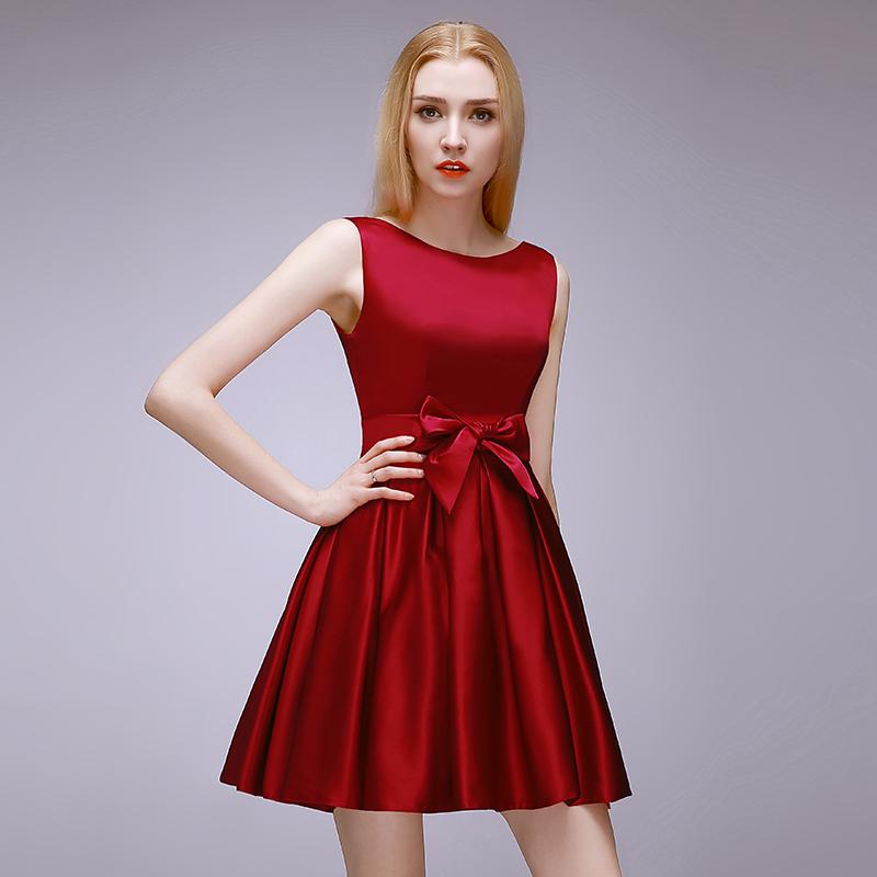 2015 High Quality Short Dark Red Bridesmaid Dress, Wedding