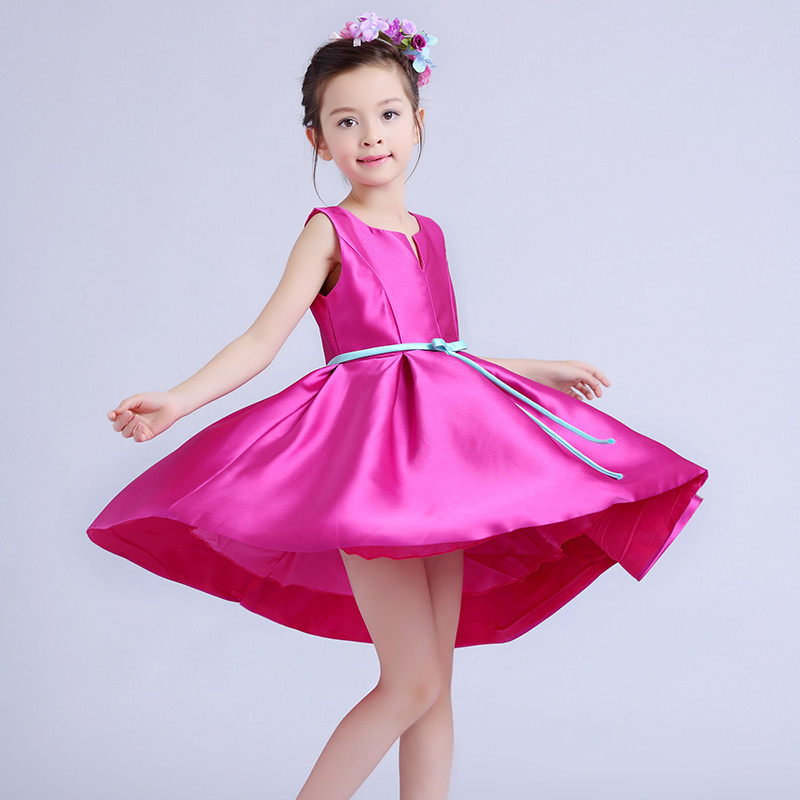 Fluffy Baby Pink Satin Dress With Green Belt Flower Girl ...