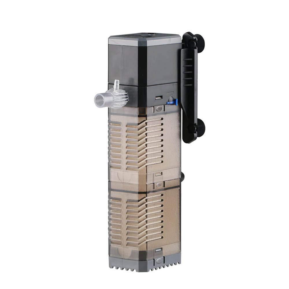 Boxtech Aquarium Submersible Water Filter Pump - Adjustable Aquarium Triple Filter Aerator Pump Wave Maker Water Circulation Air Pump Multifunction Internal Aquarium Filter for Fish Tank