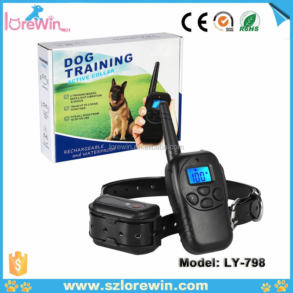 Lorewin LY-798 Dog behavior rectifiers IPX7 waterproof Receiver 100Level Shock&Vibration*Rubber Button $18