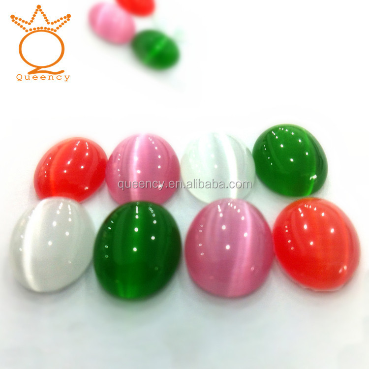 wholesale pink Oval Cabochon cat eye gem <strong>stone</strong>