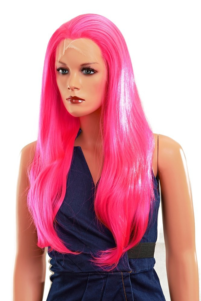 Imstyle Drag Queen Deep Pink Long Straight Synthetic Lace Front Wigs Heat  Resistant Costume Bright Pink dd2855875045