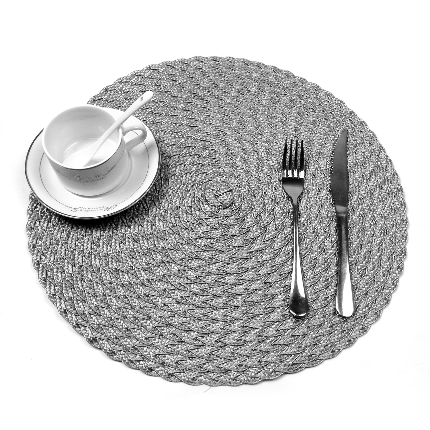 HEBE Round Placemats For Dining Table Set of 6 Woven Braided Placemats Heat Resistant Washable Table Mats Place Mat 15 inch (6, Silver Grey)