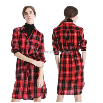 9e363fd3470 Winter Dresses Women Plaid Shirt Dress Red Black Tartan Flannel Buttoned  Autumn Shirt Dresses For Women