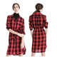 Winter Dresses Women Plaid Shirt Dress Red Black Tartan Flannel Buttoned Autumn Shirt Dresses For Women Ladies
