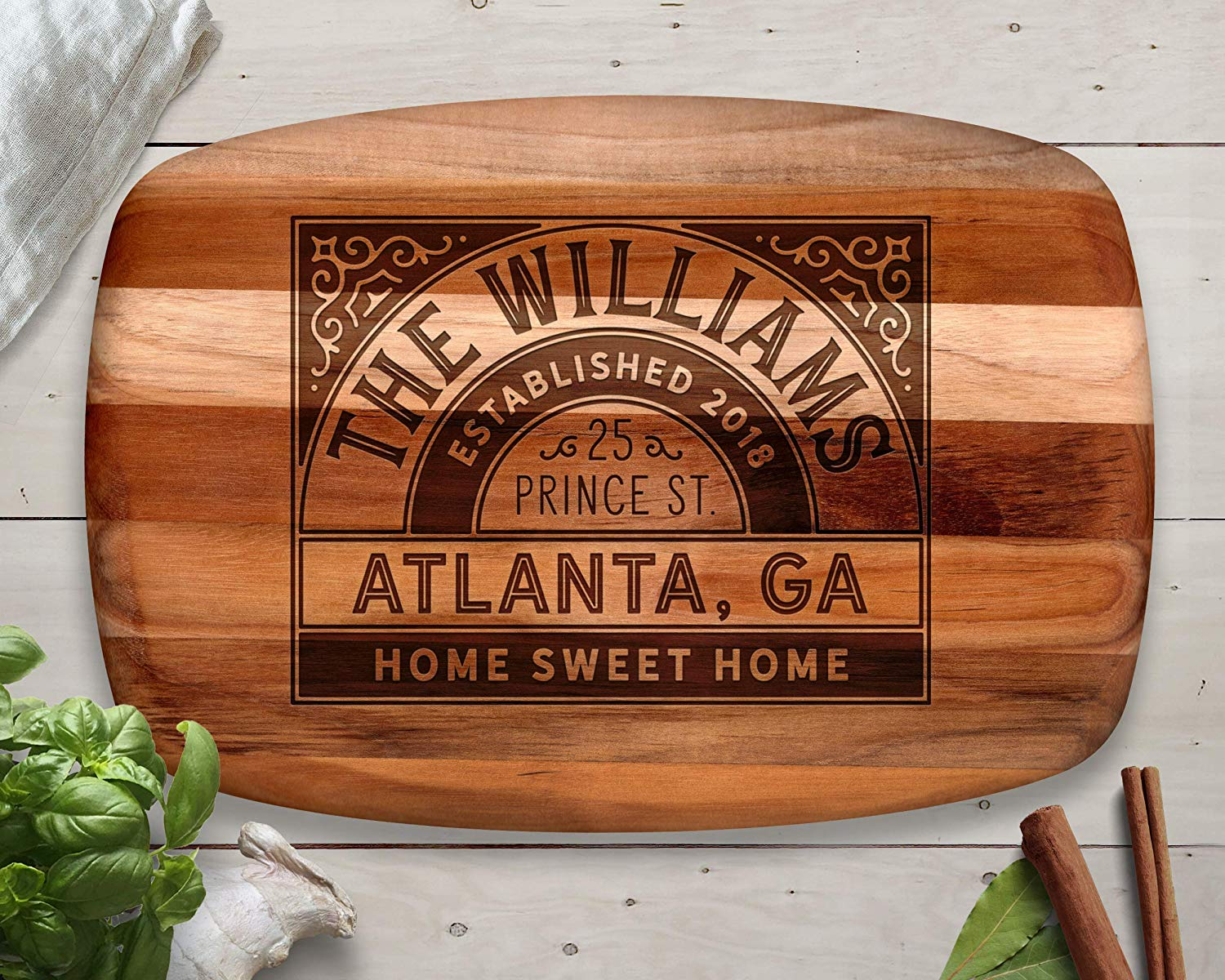 Cutting Board, Teak, Custom Cutting Board, Personalized Cutting Board, Chopping Block, Family Gift, Family Name Sign, Christmas Gift Ideas, Christmas 2018, Personalized Christmas Gift
