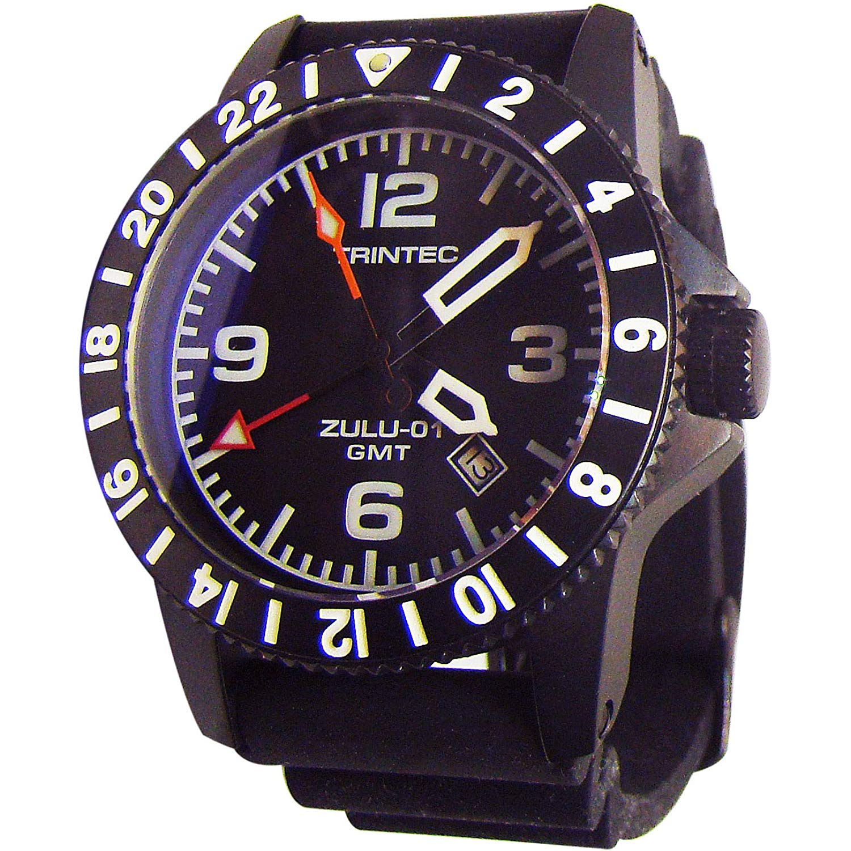 Trintec Aviation ZULU GMT Co-Pilot Men's Black Steel Watch with Rubber Band
