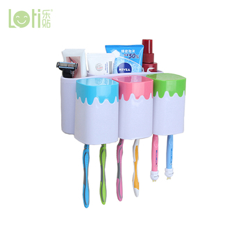 Food grade Hold 6 Brush ceramic Toothbrush Holder with Toothpaste Dispenser