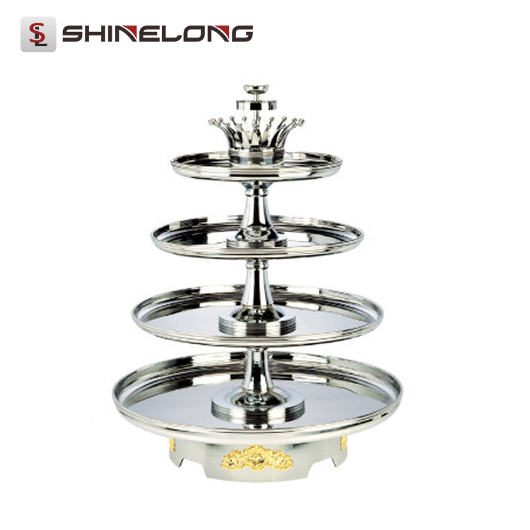 C142 Stainless Steel 4 Tiers Buffet Revolving Stand