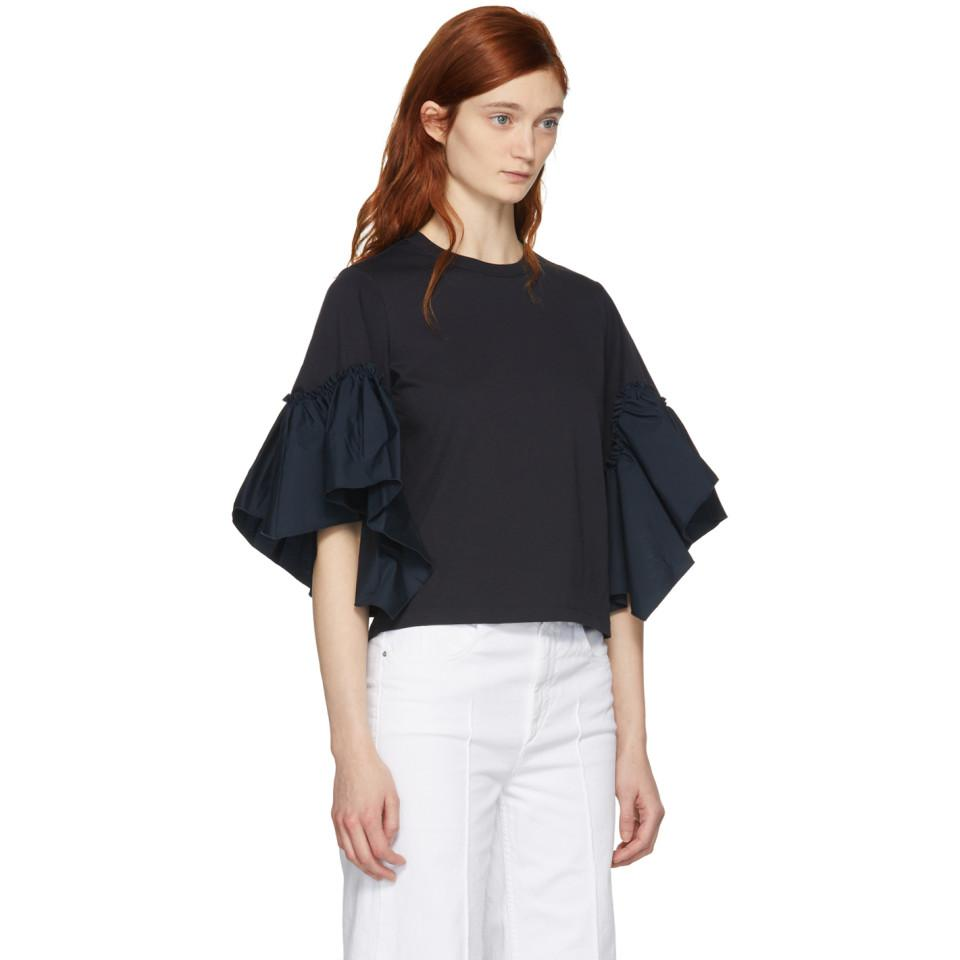 Women loose fit round neck high quality ruffle sleeve shirt