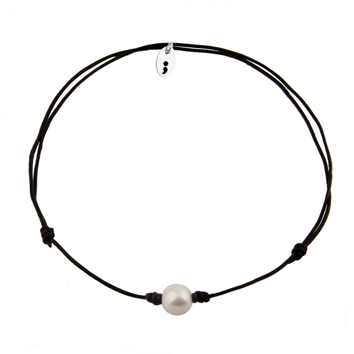 KUIYAI Pearl Choker Necklace and Bracelet with Leather Cord