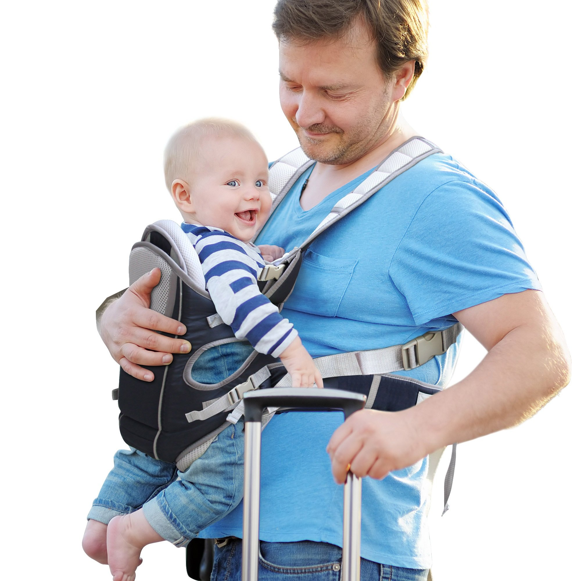 87525dbfa97 Get Quotations · MiNE Baby Carrier for Infants and Toddlers - 4 Carrying  Positions - 100% Breathable Soft