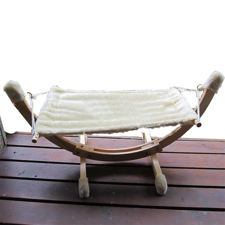 Wooden Plush Hanging Pet Hammock Beds with cat hammock