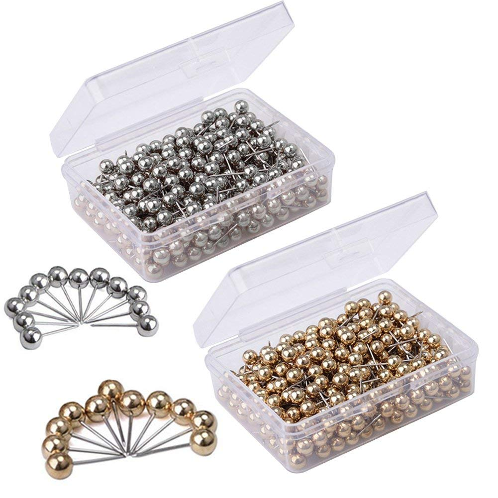 Map Tacks Push Pins 0.16 inch Retro Metallic Color Round Plastic Head and 0.43 inch Stainless Steel Point with Transparent Storage Box - Gold 400 PCS and Silver 400 PCS - Total 800 Pieces