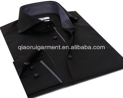 cb801831205d Men's black deep curved cutaway collar shirt with grey trim placket and  cuffs