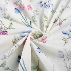 71% cotton 20% tencel 9% linen woven white Hawaiian keepsake calico cotton rose print dress fabric