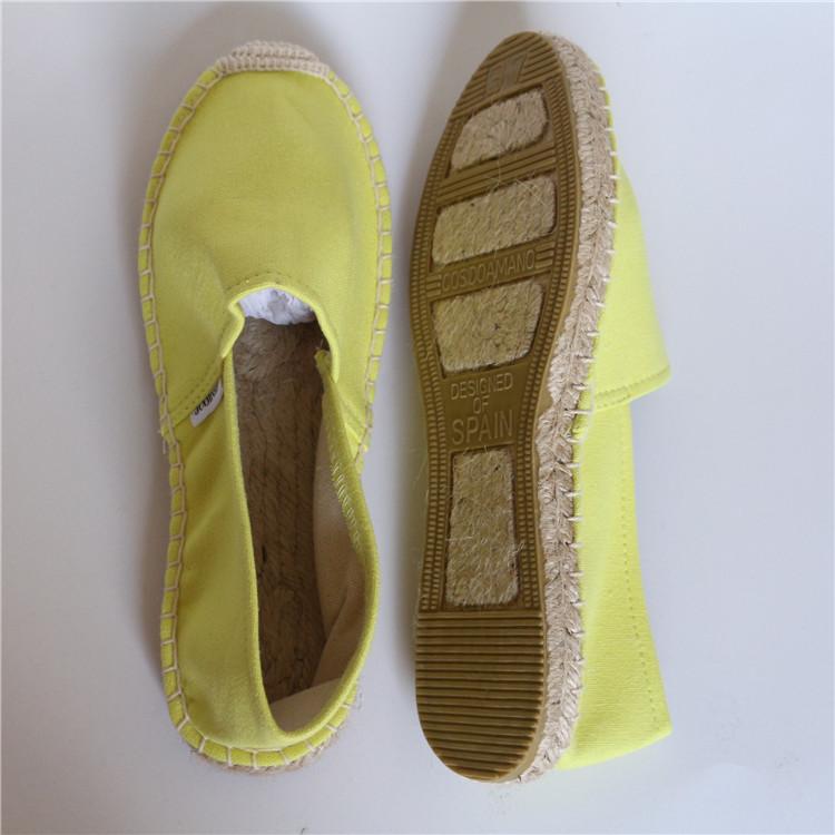 Hengfeng nouveau style nouveau design beau jaune impression dames espadrille chaussures en toile pour femmes