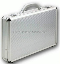 Aluminum Silvery Suitcases Metal Case for Transfer Money Lockable Laptop Case
