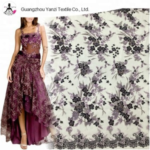 Elegant embroidery with beads tulle mesh 3d lace fabric