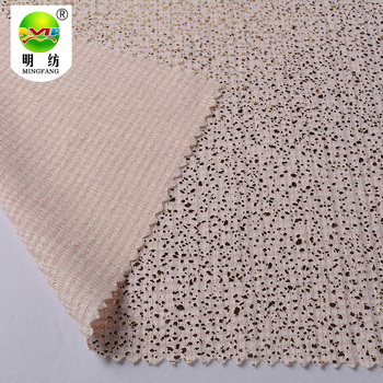 Wholesale polyester stretch jacquard knitting gold foil print fabric