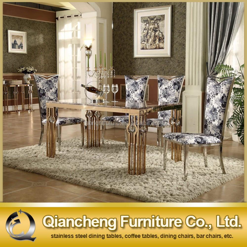 Luxe rose goud rvs eettafel ontwerp marmeren metalen tafels ...