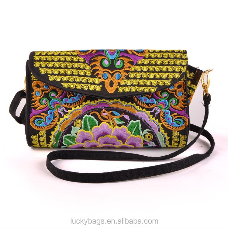 Beautiful ladies canvas hand bag design gold yellow embroidery messenger bags