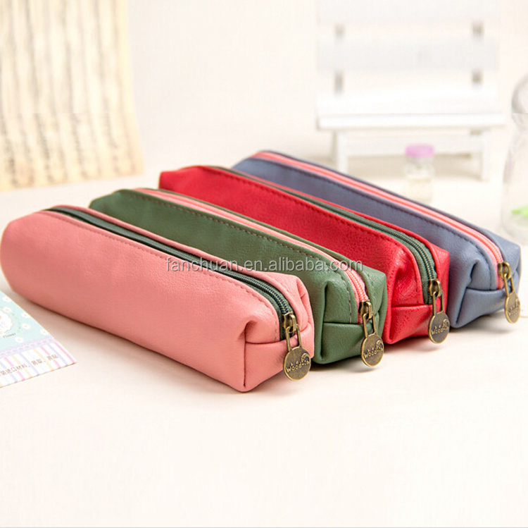 Different color solid factory outlet creative pu pencil cases