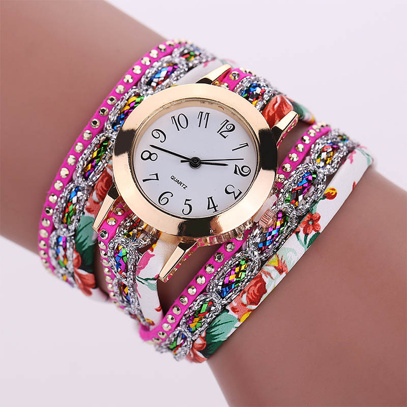 Fashion <strong>Women</strong> Rhinestone Leather Bracelets Wrap <strong>Wrist</strong> <strong>Watch</strong> <strong>Women</strong> <strong>For</strong> Girl