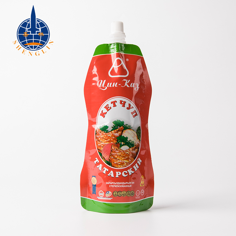 Heat seal tomato sauce spout pouch bag printed stand up sauce packaging plastic