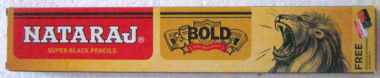 Nataraj Bold Super Black Pencils - 1 Pack X 10 Pencils + Eraser & Sharpner Free