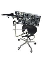 PU saddle shape guitar chair with adjustable computer desk