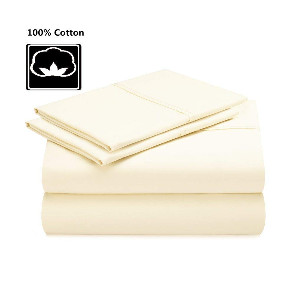 100% Cotton Bed Sheets, 400 Thread Count Pure Cotton Sateen Sheets, Cool Bed Sheets for Summer, Fits Mattress Upto 12'' Deep Pocket, Khaki, Queen