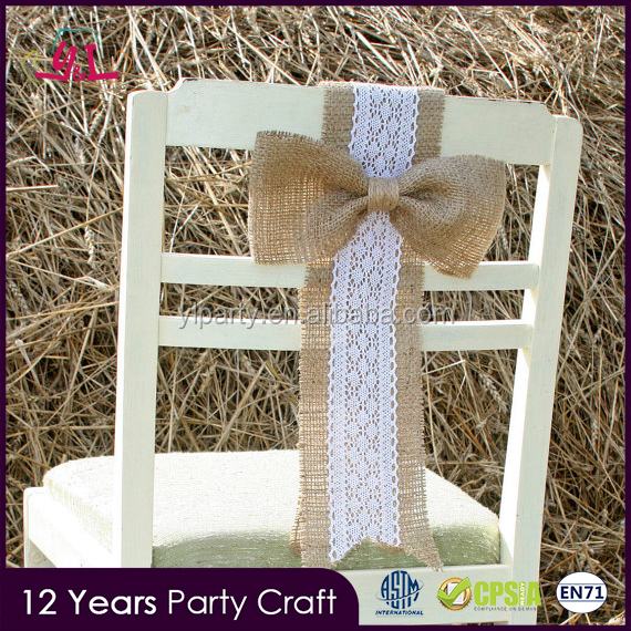 2017 Pageant Rustic Ruffle Burlap Chair Sash For Wedding Decoration