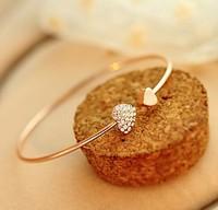 heart bracelet crystal love opening gold plated bracelet crystal bracelets & bangles