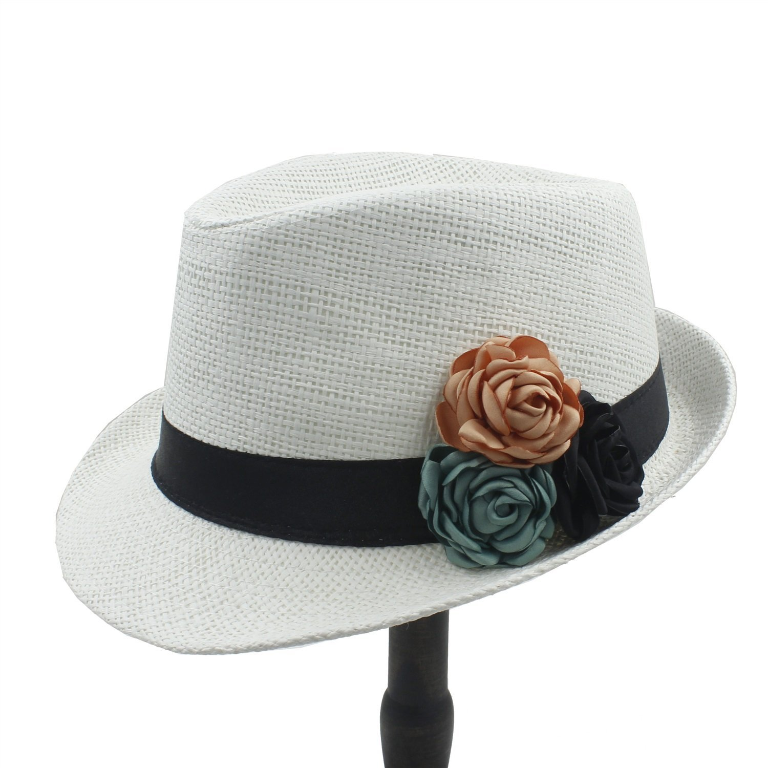 b2bcf9d0 Get Quotations · Shufang-hats, store, Straw Sun hat,Fashion Toquilla Straw  Women Boater Beach
