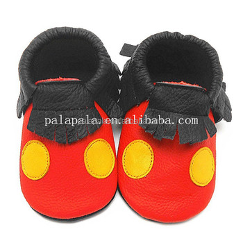 b3cad9aa6e71 Soft cute lovely mickey mouse genuine leather baby moccasins kids shoes  with yellow dots