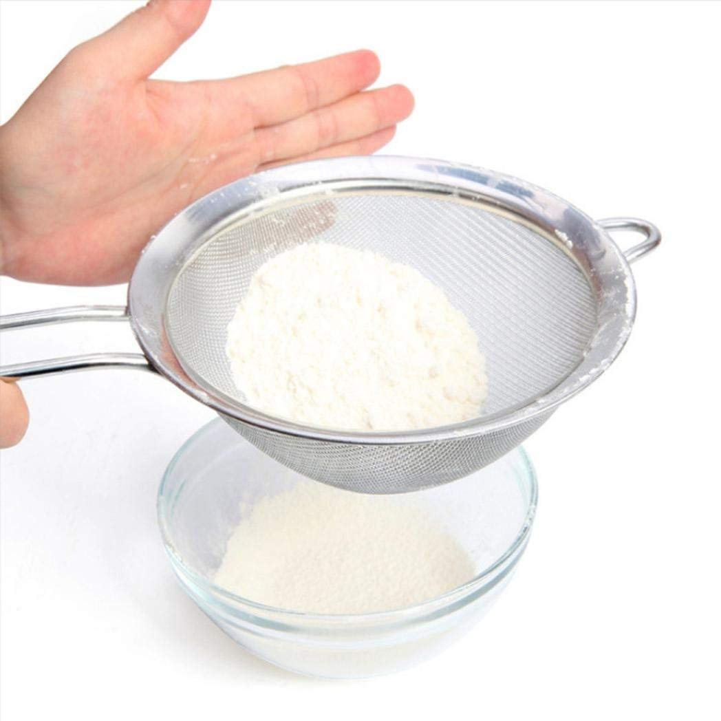 YRD TECH New Stainless Steel Sieve Powder Flour Sieve Mesh Baking Tools Pastry Tools Flour Scoop Kitchen Accessories (Sliver)