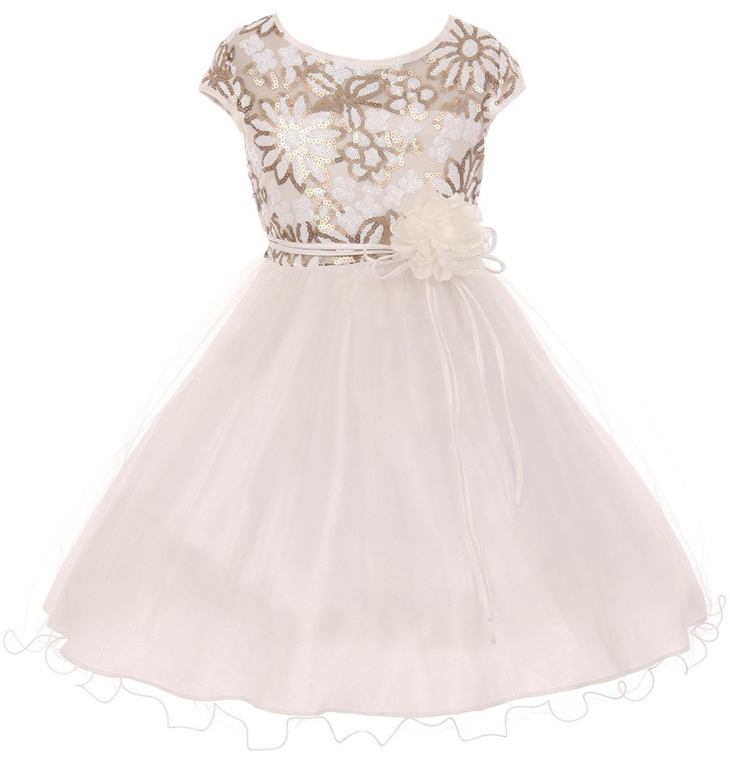faee9e2c27c Get Quotations · Dreamer P Cap Sleeve Flower Shaped Sequin Top Tulle  Special Occasion Flower Girl Dress