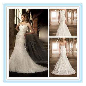 This Lace & Taffeta Designer Gown Features An Overlay of Dotted Swiss Lace Mature Wedding Gown (WDES-1009)