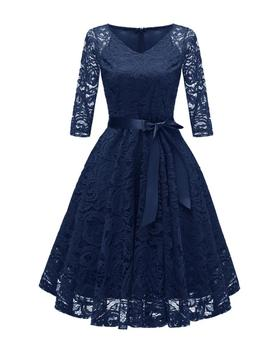 Autumn Hot Sale Casual Femme Lace Long Sleeve V-Neck Hollow-Out Navy Short Evening Dress