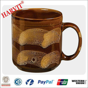 8oz Coffee Mug/ Egypt Hand-paiting Cup/ Brown Ceramic Color Glazed Milk Mug
