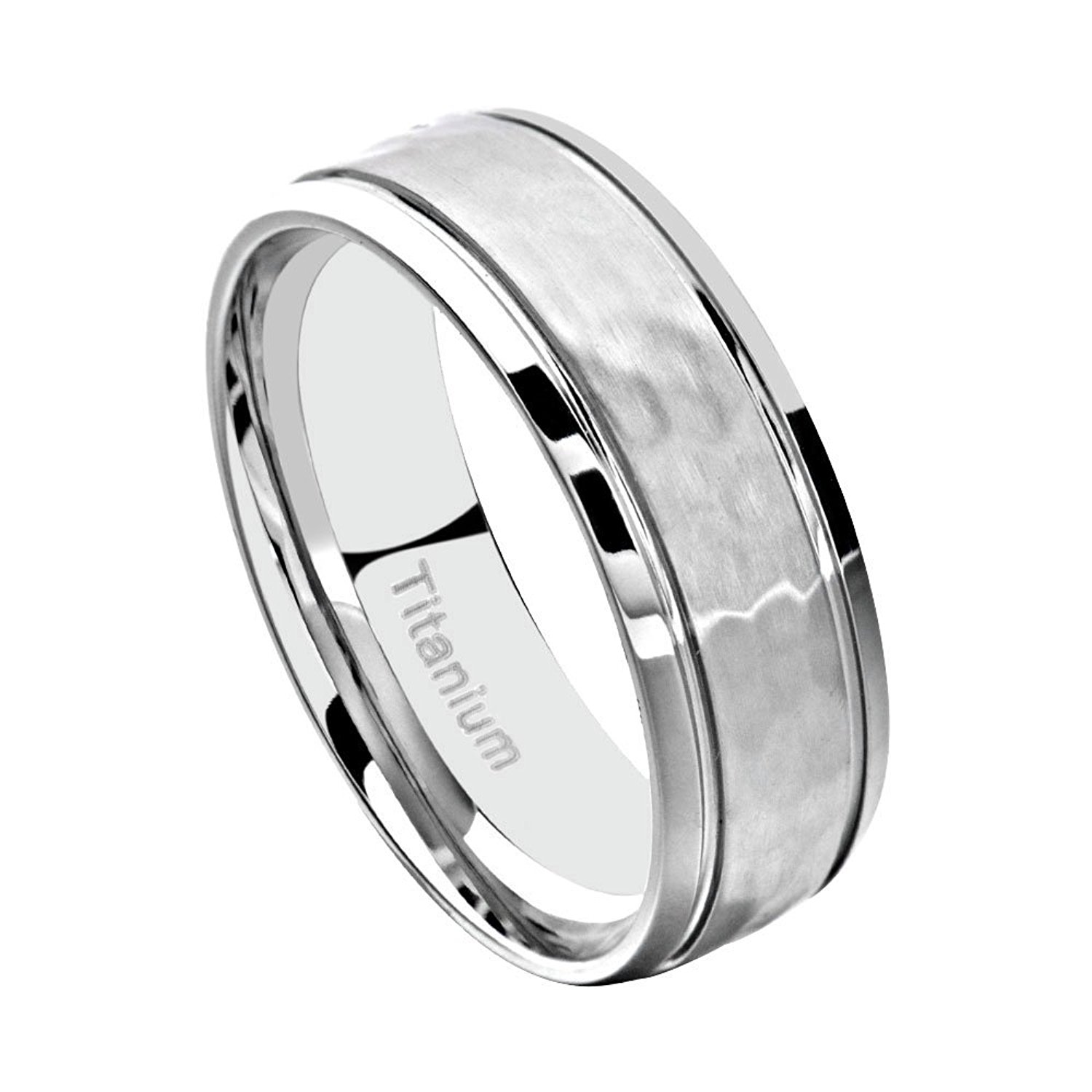 Jewelry & Watches Bridal & Wedding Party Jewelry Objective Titanium 8mm Yellow Plated Ridged Edge Brushed Wedding Ring Band Size 8.50 Pretty And Colorful