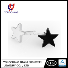 Silver/black color big star earrings 316L stainless steel ear studs for women girls for gift party